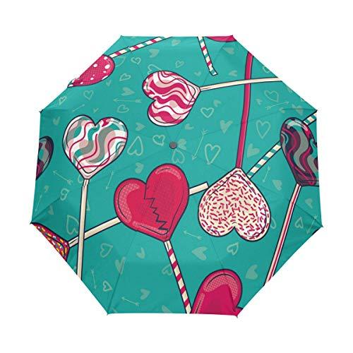 My Daily Heart Shaped Lollipop Candy Travel Umbrella Auto Open/Close Ligero compacto a prueba de viento