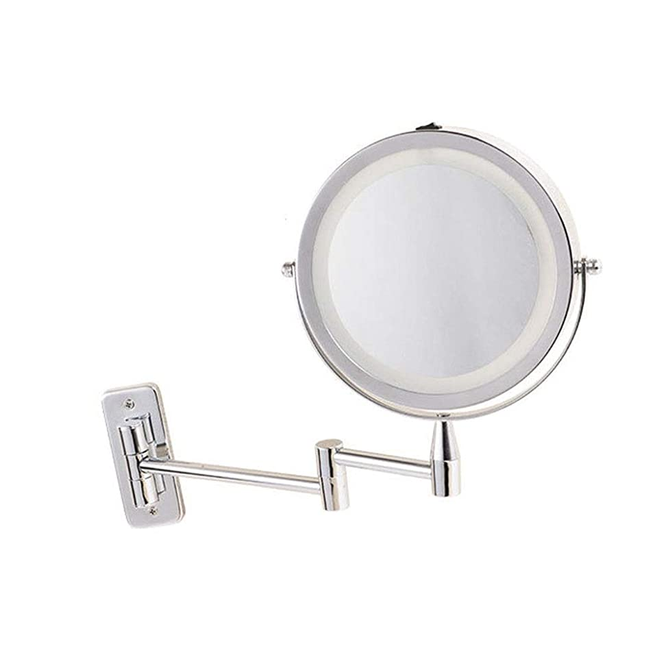 アンドリューハリディ検出器検出器LEDウォールミラーホームホテル浴室金属折りたたみミラー片面壁の美しさアルミミラー (Size : 6 inches)