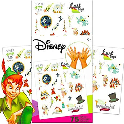 Disney Peter Pan Tattoos Party Favors Pack ~ Bundle Includes Over 75 Peter Pan Temporary Tattoos (Peter Pan Party Supplies)