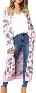 Sunhusing Fashion Women's Leopard Print Long-Sleeved Cardigan Long Knitted Sweatshirt Coat