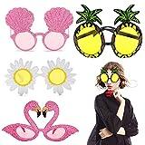 ITNP 4 pezzi Ananas Occhiali da Sole Hawaiian Tropicale Festa Occhiali da Sole Ananas Flamingo Conchiglie Fiore Margherita Occhiali da Decorazione della Spiaggia per Estate Costume Festa Foto Puntelli