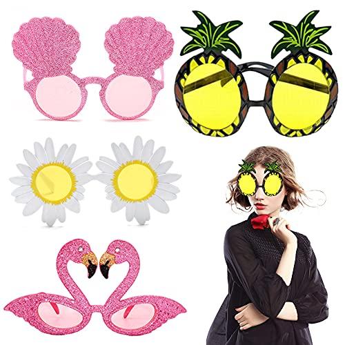 ITNP Gafas de Sol de Piña 4 Pares Gafas de Sol de Fiesta de Novedad Flamingo Conchas Daisy Flower Hawaianas Tropicales Partido Gafa Accesorios de Disfraz, para Niños Adultos Decorativas de Fiesta