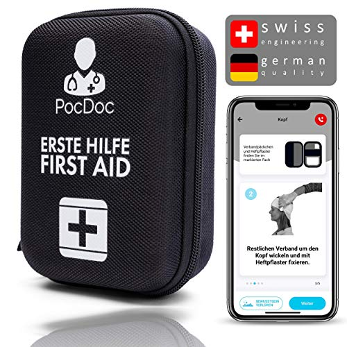 PocDoc Outdoor - Intelligentes Erste Hilfe Set mit gratis APP (iOS & Android) - Reisen, Sport & Motorrad - Füllung nach DIN 13167 - Plus Pinzette & Wundreinigungstücher