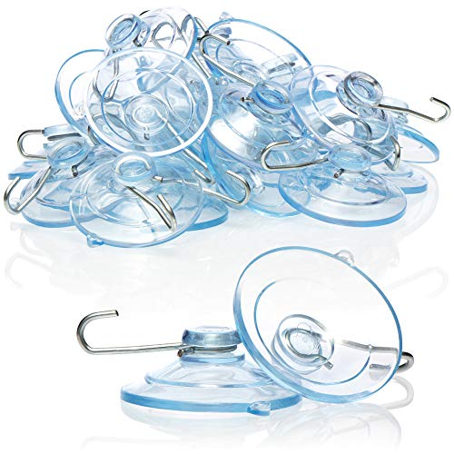 com-four® 20x Saugnapf - Universal Saugnapfhalter mit Metallhaken - Saugnäpfe zum Aufhängen von Lichterketten, Handtüchern, Dekorationen (Ø 4.5cm - 20 Stück)