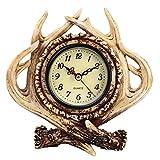 Diskary Relojes de Mesa Diseño de Cornamenta, Reloj de Chimenea Vintage Reloj de Cuarzo Que No Hace Tictac, Decoración para,Oficina,Sala de Estar,Dormitorio - Regalo para Amigo,Padre,Madre