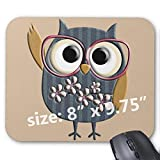 Gaming Mouse Pad Non-Slip Water Resistant Rubber Base Cloth Computer Mouse Mat-Retro Vintage owl Mousepad