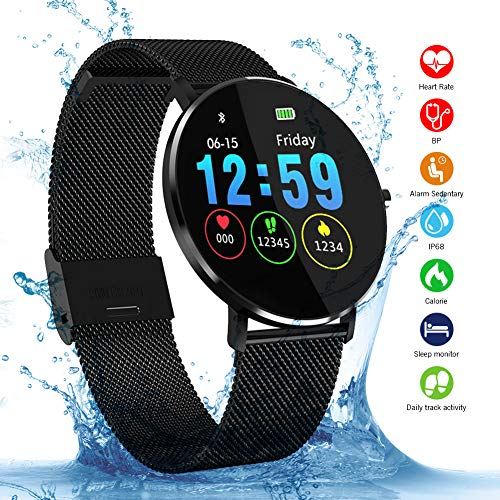 Padgene L6 Sport Smart Watch, Fitness Activiteit Tracker met Hartslagmeter en Slaapmonitor, Bluetooth Waterdichte Smart Watch, Step Counter Stappenteller en Calorie Counter voor Android en IOS