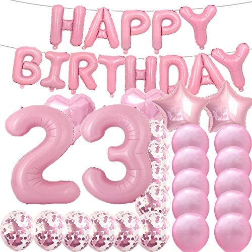 Sweet 23th Birthday Decorations Party Supplies,Pink Number 23 Balloons,23th Foil Mylar Balloons Latex Balloon Decoration,Great 23th Birthday Gifts for Girls,Women,Men,Photo Props