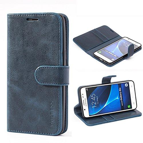 Mulbess Handyhülle für Samsung Galaxy J5 2016 Hülle, Leder Flip Hülle Schutzhülle für Samsung Galaxy J5 2016 Duos Tasche, Dunkel Blau
