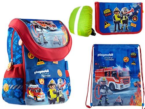 Playmobil Fire Schooltassenset, 4-delige set brandweerlieden, schooletui, sporttas, regenbescherming, nieuwe schooltas, 4-delige set