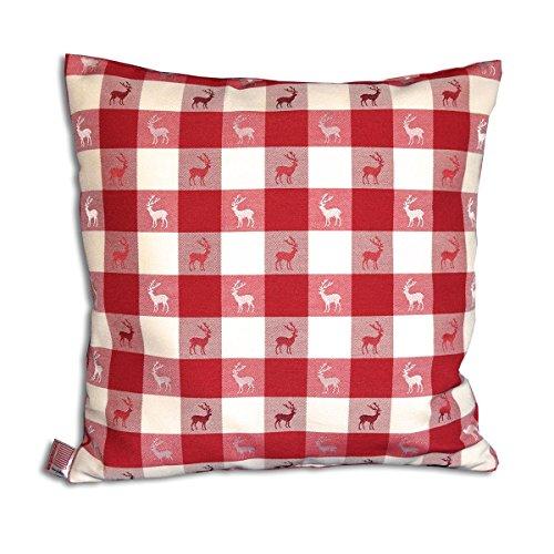 SeGaTeX home fashion 1 Kissenhülle Karo in Rot passend zu Dekoschal Karo in Rot 40 x 40cm - Hirsch
