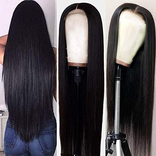 HC Straight 360 Lace Frontal Wig with Natural Hairline and High Ponytail Peruvian Virgin 360 Lace Frontal Human Hair...