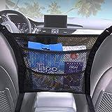 3-Layer Car Net Pocket Handbag Holder, Seat Back Car Organizer Net Bag, Barrier of Backseat Pet Kids, Cargo Tissue Purse Holder, Driver Storage Netting Pouch (Black, 3-Layer)