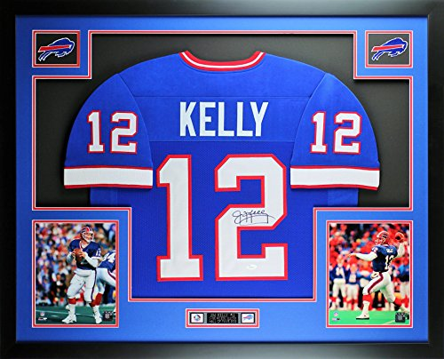 Jim Kelly Autographed Blue Bills Jersey - Beautifully Matted and Framed - Hand Signed By Jim Kelly and Certified Authentic by Auto JSA COA - Includes Certificate of Authenticity