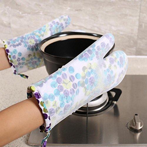Dbtxwd Plus Anti-hot anti-dérapants micro-ondes four Gants coton silicagel isolation gants haute température four épaississement