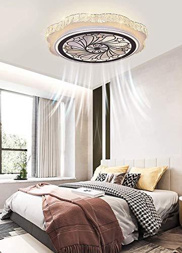 Unsichtbare Deckenventilator Mit LED Beleuchtung, Moderne 64W Dimmbar Kristall Deckenleuchte, ∅60cm Ultra dünn Leise Schlafzimmer Ventilator Lampe Mit Fernbedienung Timing
