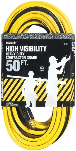 Woods 0521 14 3 SJTW High Visibility Outdoor Extension Cord 50 Feet Yellow Black product image