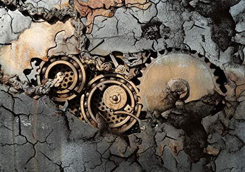 ForWall Fototapete Wanddekoration - Wandtapete Zahnrad in einem Felsen eingeschlossen P8 (368cm. x 254cm.) AMF12612P8 Wandtapete Design Tapete Wohnzimmer Schlafzimmer
