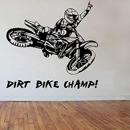 Muursticker,Sticker crossmotor motorfiets decal woondecoratie verwijderbare woondecoratie 63cmx59cm