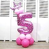 Globos de papel de aluminio con corona para fiesta de cumpleaños. Números 0 al 9 5 rosa