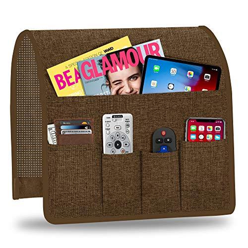 Naturoom Organizador de reposabrazos para sofá, antideslizante, con 6 bolsillos para teléfono inteligente, libro, revistas, iPad, TV, mando a distancia