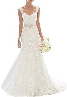 Vestido de novia de Encaje de Las Mujeres Ailin Home (Color : Blanco, Tamaño : Metro)