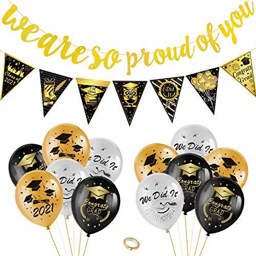 HOWAF Glückwunsch abschluss deko Set We Are So Proud of You Banner abschluss Girlande mit...