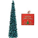 N&T NIETING Árbol de Navidad plegable de 1,52 m con lentejuelas para Navidad, suministros de fiesta, exhibición del hogar, oficina, decoración de interiores de chimenea.