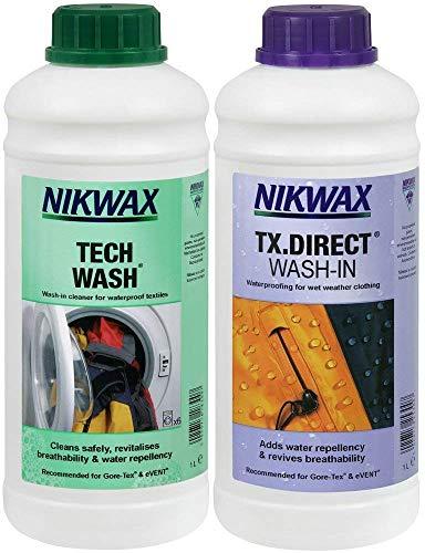 Nikwax Tech Wash und TX Direct, Doppelpack, für die Reinigung und Imprägnierung von Outdoor-Zubehör, 2x 1000ml