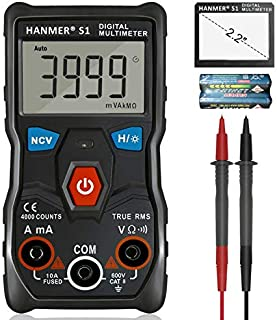HANMER Digital Multimeter, S1 Ture-RMS Auto-Ranging Multimeters automatic multi tester Electrical Voltage Ammeter Ohm Tester AC/DC Current Resistance Continuity Test Meter