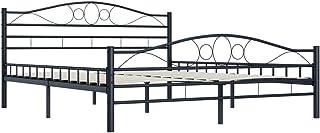 Festnight Fer en Métal Moderne de Lit | Cadre de lit Noir Acier 160 x 200 cm pour Chambre