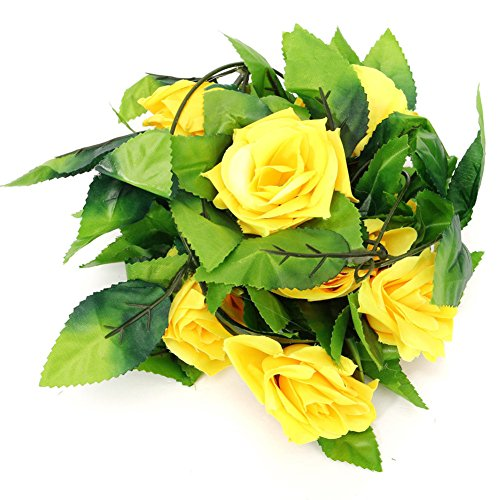 Bangle009 8ft Artificial Rose Garland Flower Leaf Vine Home Wedding Garden Party Decor Yellow