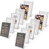 Soporte para Carteles (Pack de 12) - A5 Plástico Acrílico Clara Soporte de menú de póster para promociones, restaurantes, Marcos de Fotos, Documentos, Marcos Publicitarios