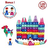 FunEdu Deluxe Upgraded 120 PCS 3D Magnet Tiles Building Blocks, Super Strong Magnetic Toy Set, Various Shapes, Wheel Bases, Magnetic Figures, Clear Tiles with Animal Images for Kids Toddlers