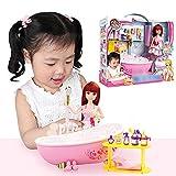 househome Conjunto de Muebles de baño de casa de muñecas Conjunto de Muebles y muñecas de baño Glam Juego de Juguetes de muñeca de baño para niñas niños