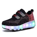 Neyou Zapatillas de Skate con Luces LED Recargables Intercambiables de 12 Colores y Ruedas Retráctiles Zapatillas de Skateboard de Gimnasia