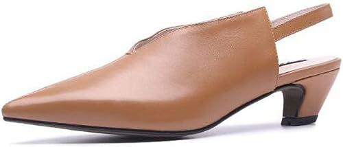 Femmes marron Leather Block Talon Chaton Bout Pointu Sandales Chaussures De Mariage Escarpins Escarpins