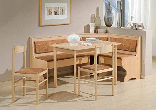 Beauty.Scouts Eckbankgruppe 'Munich' Eckbank Tisch 2 Stühle Buche Dekor Terracotta Microfaser 4-teiliges Set Truheneckbank Küche Esszimmer Landhaus