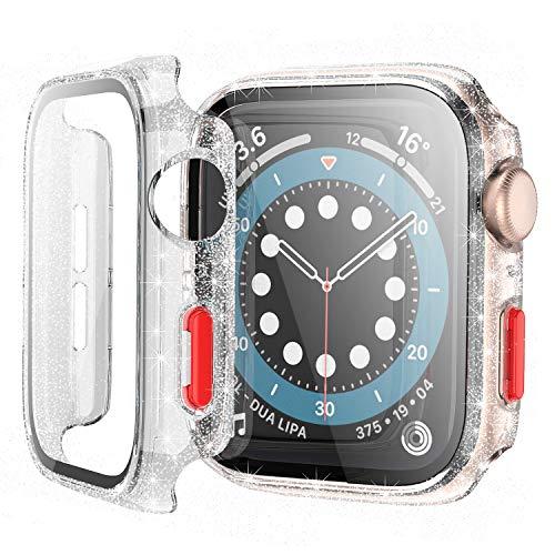 Bescove Transparente Funda con Brillantes para Apple Watch Serie 3/2 42mm con Protector de Pantalla Cristal Templado,Carcasa Rigida con Vidrio Templado Pelicula para iWatch Proteccion Completo