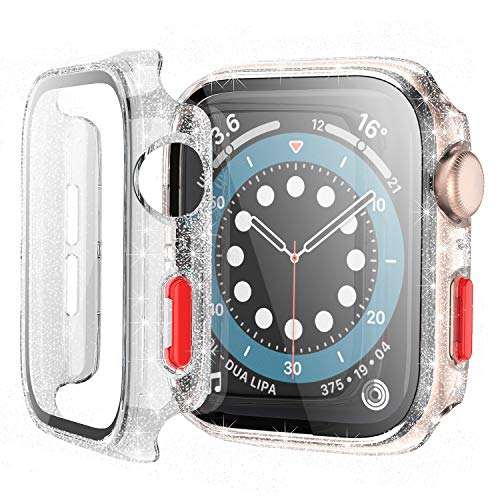 Bescove Transparente Funda de Brillantes Glitter para Apple Watch Serie 3/2 42mm con Protector de Pantalla Cristal Templado iWatch Carcasa+Vidrio Pelicula Proteccion Completo
