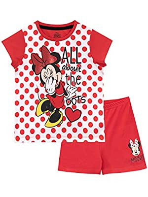 Disney Pijamas de Manga Corta para niñas Minnie Mouse Rojo 6-7 Años