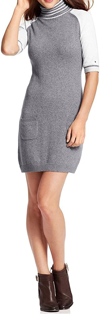 Tommy Hilfiger Short-Sleeve Colorblocked Sweater Dress - Gray XL