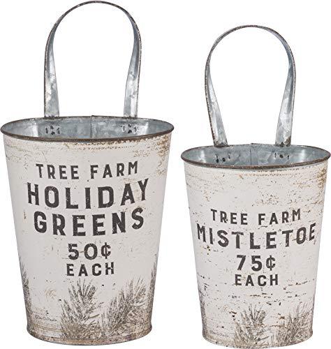 Primitives by Kathy 39898 Rustic Wall Buckets, Tree Farm Holiday Greens