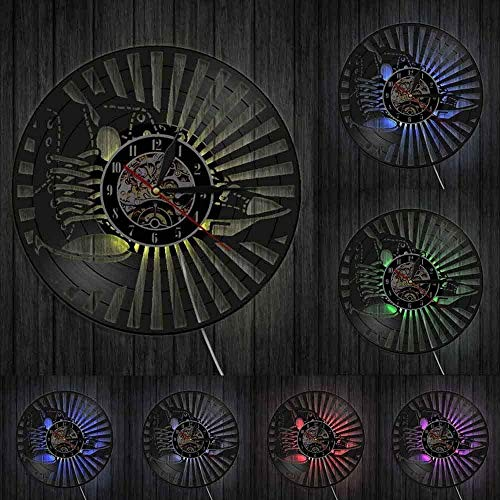 OLB&VNM Vinyl Record Reloj de Pared Sneaker Arte de la Pared Zapatos de Moda Cuero Lona Calzado Running High Top Chucks Fashion Decor-with_Led