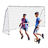 F2C 12 x 6 Soccer Goal for Backyard, Heavy Duty Steel Frame with Net for Kids, Adult Portable Football Shooting Training Aid with Carry Bag, Ground Stakes Weather Resistant