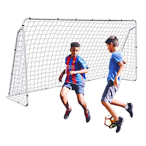 F2C 12 x 6 Foot Soccer Goal Steel Frame with Net for Kids, Heavy Duty Backyard Football Shooting Training Aid with Carry Bag, Ground Stakes Weather Resistant