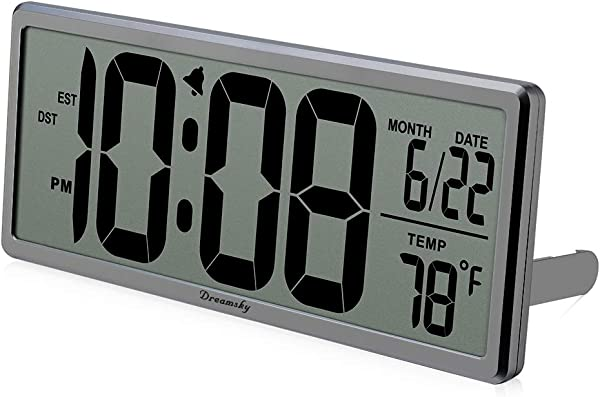 DreamSky Extra Large Digital Wall Clock Desk Clock Auto Time Self Setting Alarm Clock Auto DST Time Changing Jumbo Number Clock Date Temperature Display Battery Operated