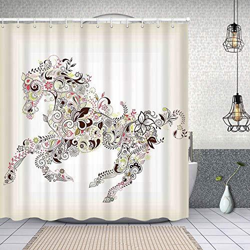 MAYUES Cortina de Ducha Impermeable Resumen Floral Caballo Flor Hoja Ornamental Paisley Patrón Remolino Ilustraciones Cortinas baño con Ganchos Lavable a Máquina 62x72 Inch