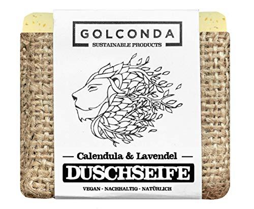 GOLCONDA Duschseife Calendula & Lavendel | zertifizierte Naturkosmetik | Naturseife extra-feuchtigkeitsspendend | Vegan | Handgemacht | Plastikfrei | Palmölfrei | 1 stück