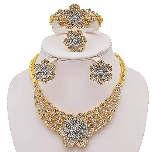 xtszlfj Conjunto de Joyas Conjunto de Collares de Lujo Pendientes Anillo Pulsera Encantos de joyería de Cristal Conjunto de Joyas en Forma de Flor
